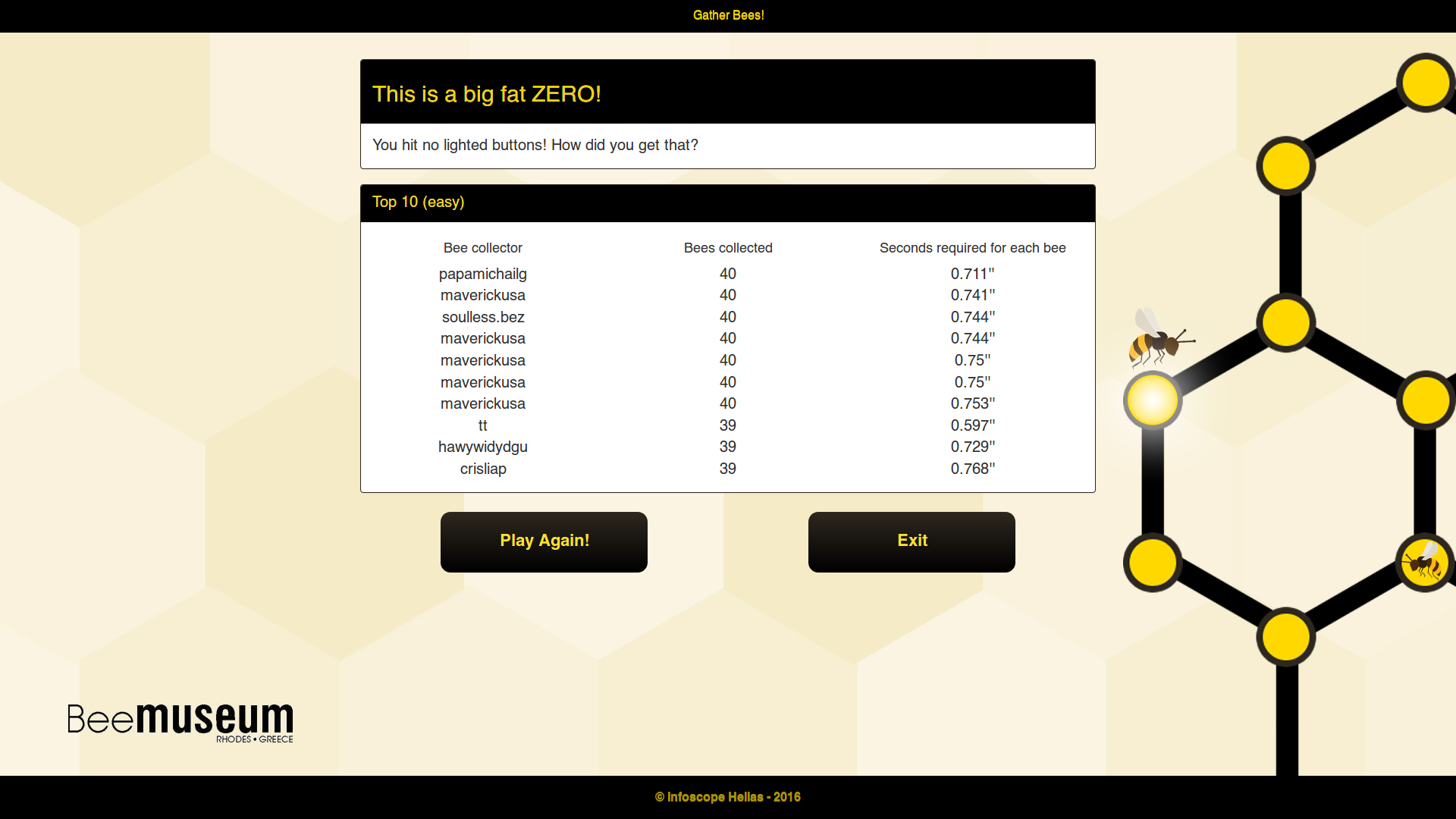 "Bee Museum Rhodes - Interactive Game ""Gather Bees"" - Results screen"