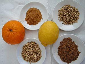 Melekouni raw ingredients (Smoked thyme honey,natural sesame seeds, whole almonds, scented orange-ergamot and various spices)